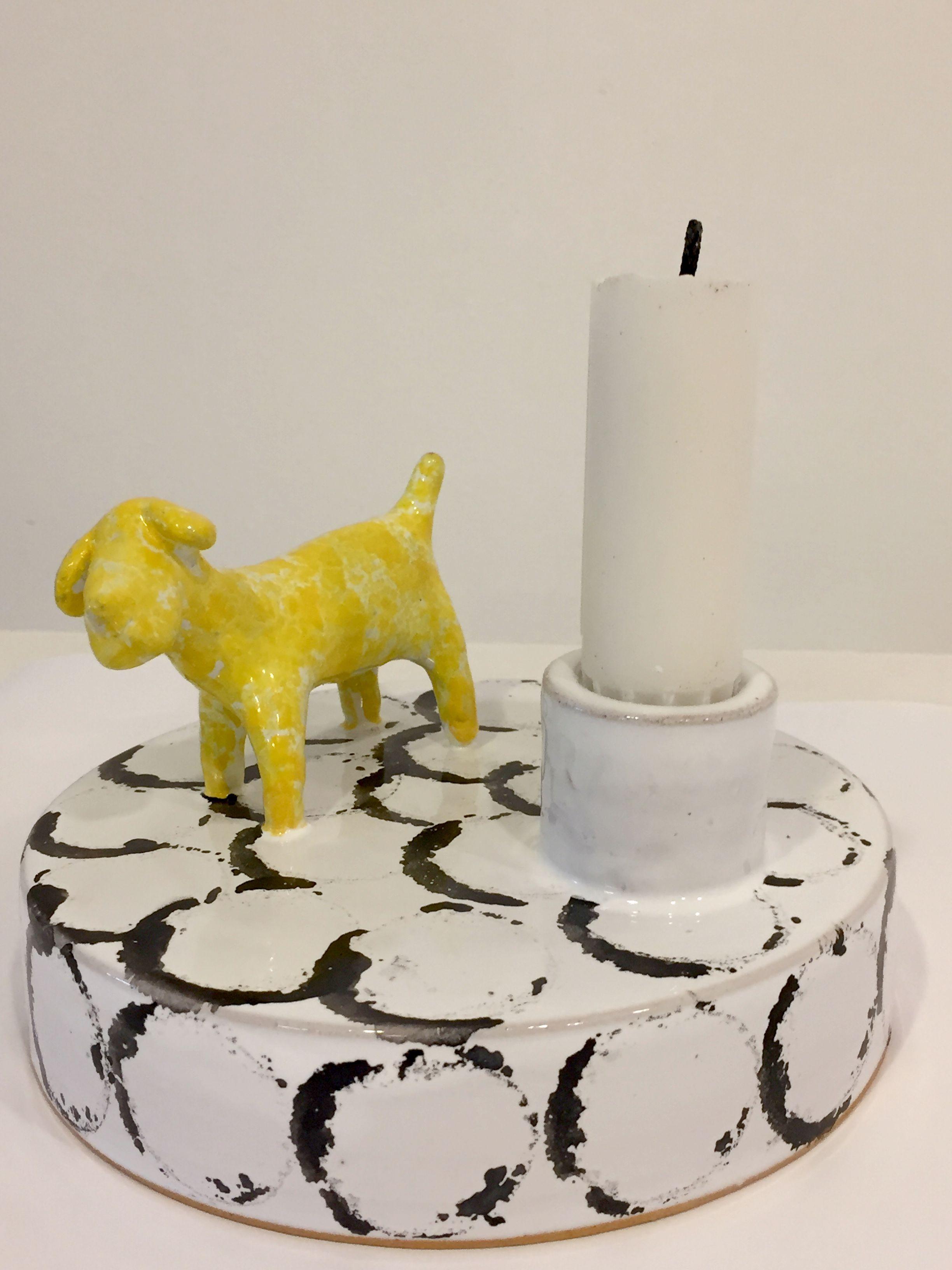 Keramik, ljusstake med hund